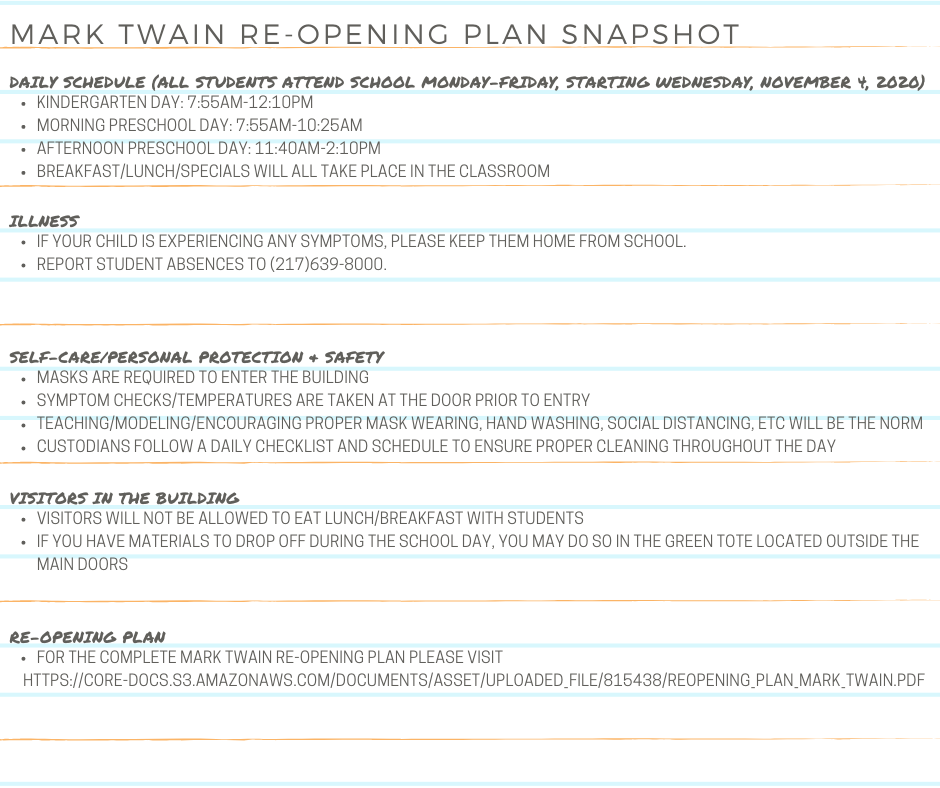 Mark Twain re-opening plan snapshot
