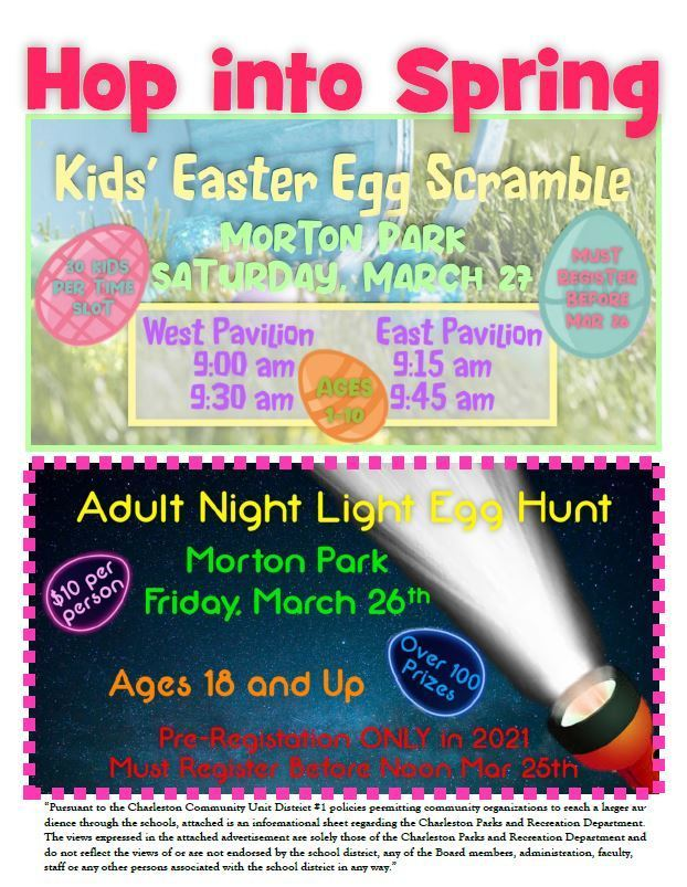 Rec Dept 2021 Egg Hunt Flyer