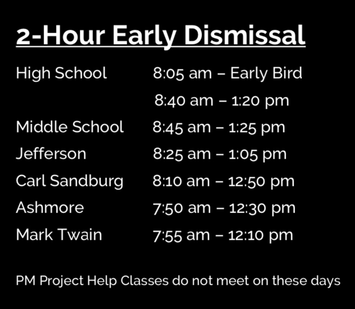 2 hour early dismissal schedules