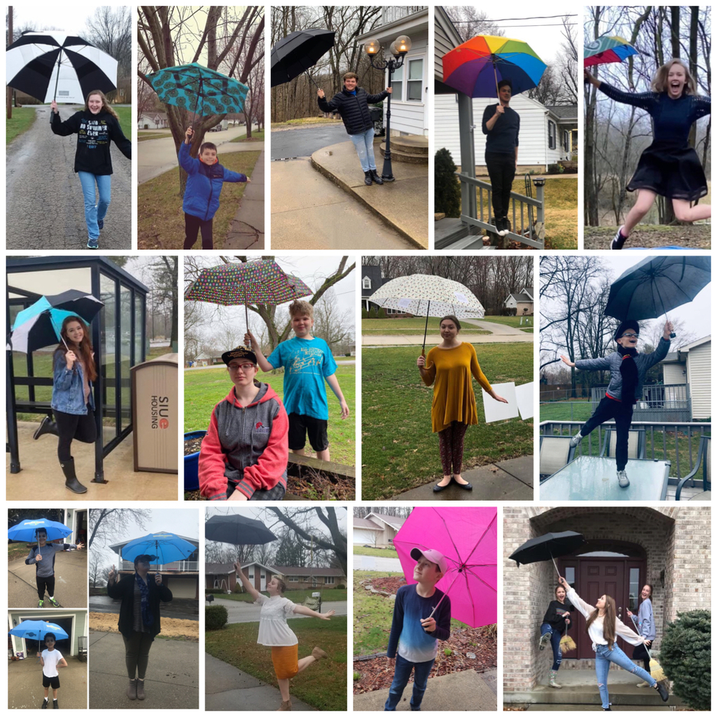 15 CHS Performing Arts members doing their best Mary Poppins poses with umbrellas