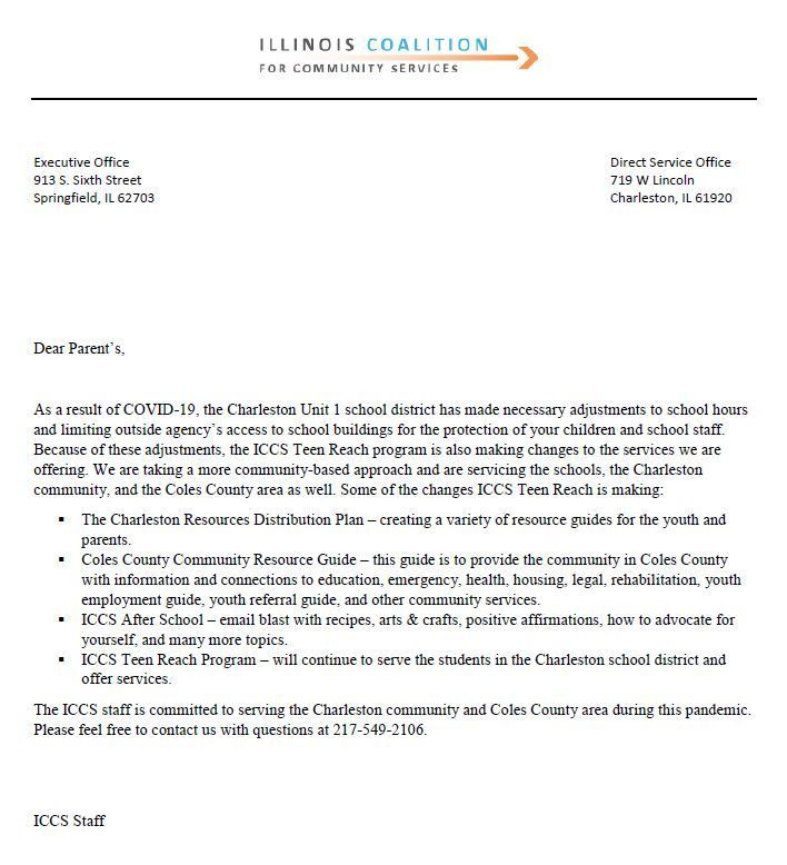 Letter from Teen Reach to CUSD1 Families